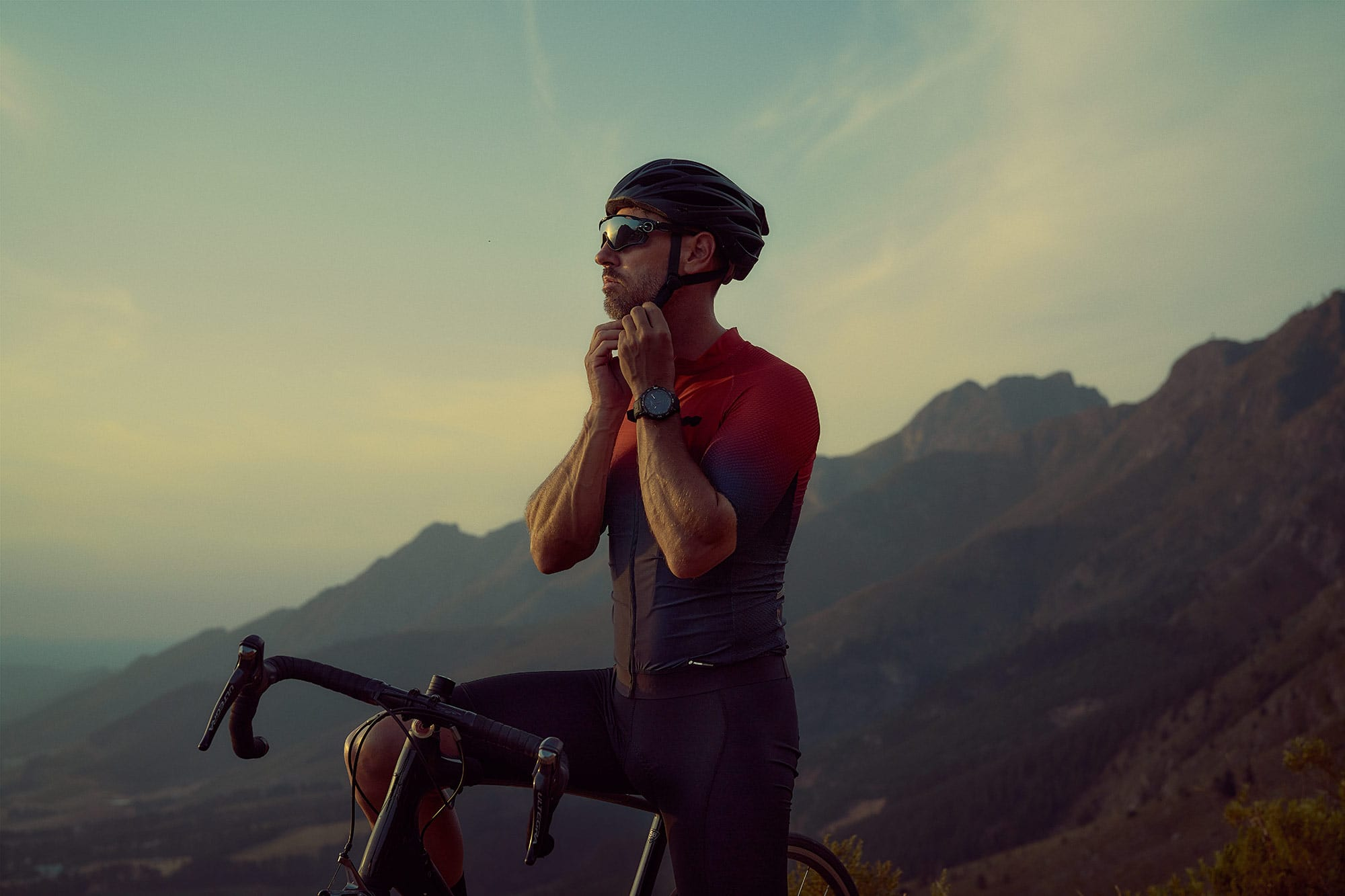 tissot t-touch active sports watch photographed late evening photography with cyclist in cape town