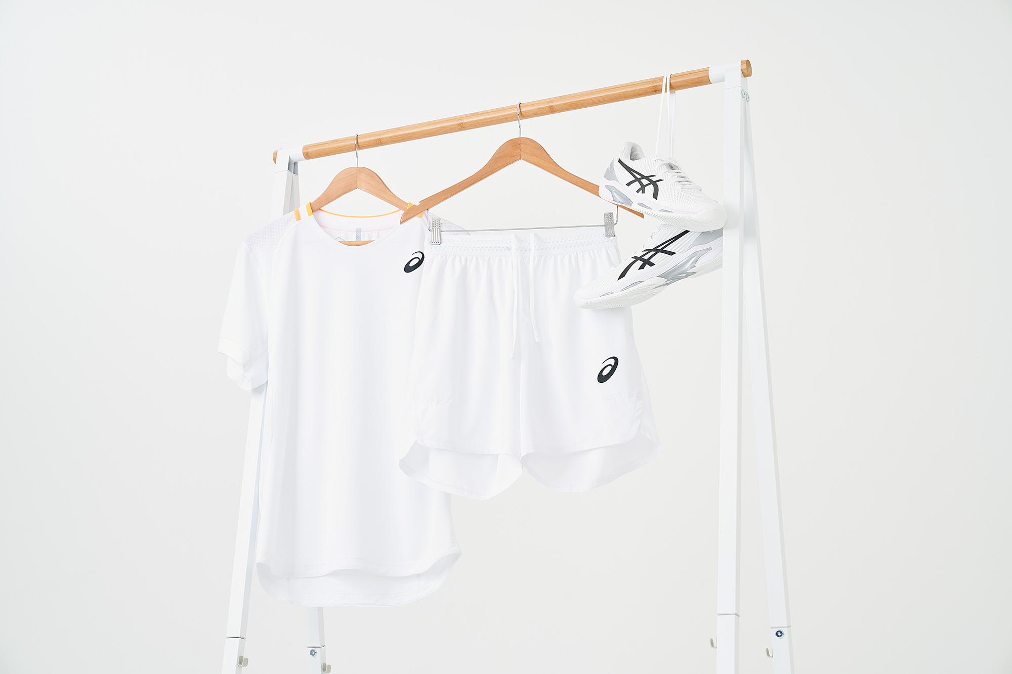 new asics Wimbledon tennis clothing photographed on white backdrop using sony camera